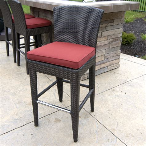 outdoor bar stools patio furniture island wicker counter height stools two pack by leisure