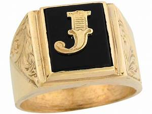 10k 14k real gold 12x10mm rectangle onyx letter j fancy With letter j gold ring