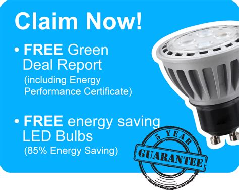 free energy saving led bulbs epc certificate green deal