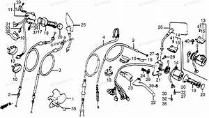 Honda Motorcycle 1986 Oem Parts Diagram For Control Levers    Cables    Switches