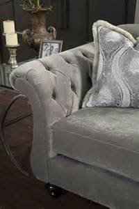 antoinette gray velvet chesterfield inspired crystal