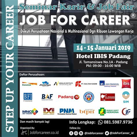 job  career padang januari  jadwal event info