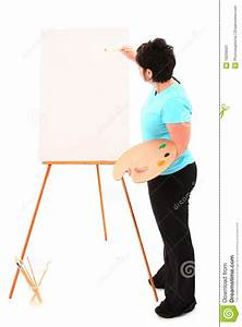 Overweight Woman At Easel Painting Stock Image - Image ...