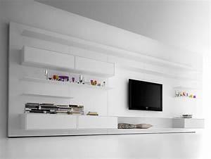 Meuble Tv Mural Blanc : meuble tv design 23 meubles bas pour moderniser le salon ~ Dailycaller-alerts.com Idées de Décoration