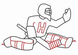 Drawing a cartoon hockey goaltender