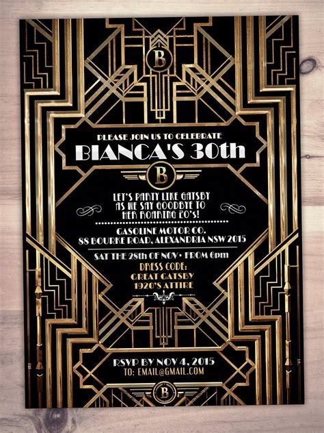 great gatsby birthday invitation roaring  hollywood film theme party invite black