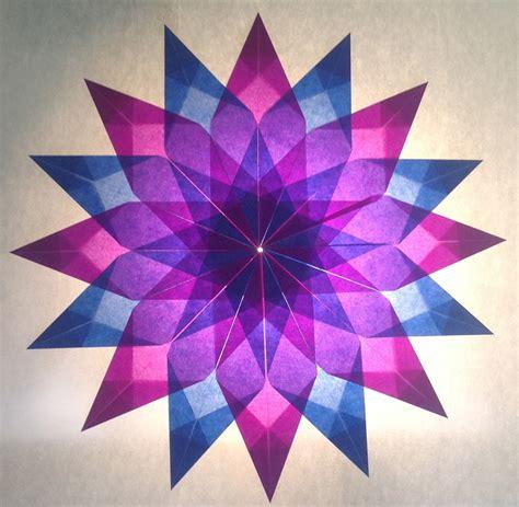 Fünfzackiger Falten by Blau Lila 16 Zacken Sterne Aus Transparentpapier