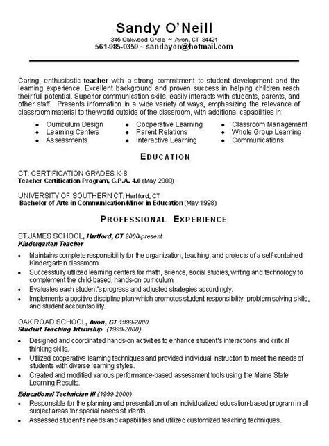 Student Teaching Experience On Resume by Teachers Resume Objective With Education Certification