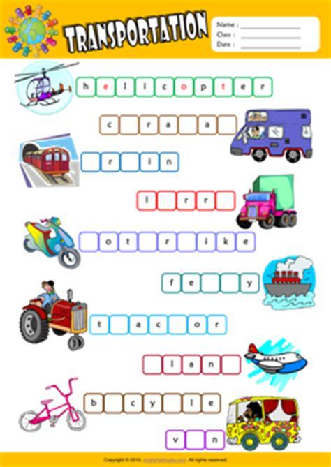 transportation esl printable worksheets  kids