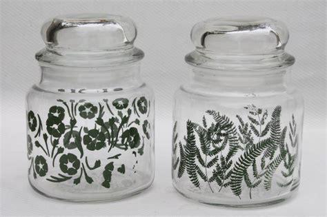 vintage glass canisters kitchen vintage anchor hocking glass kitchen canister jars green