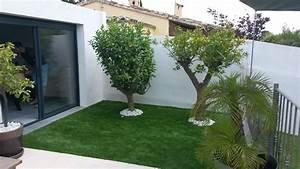 Réalisation : aménagement jardin avec gazon synthétique, Marignane Vente de gazon synthétique