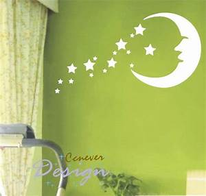 sale moon stars kids nurseryart graphic vinyl wall by ccnever With amazing look with moon and stars wall decals