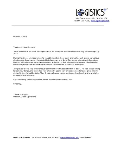 sle reference letter for transport company joel coppella recommendation letter logistics plus 69194