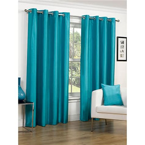 faux silk turquoise gree eyelet curtains green eyelet