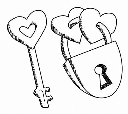 Lock Drawing Heart Hearts Designs Easy Pages