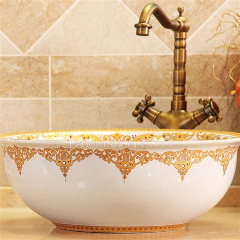 golden  white ceramic  bath sinks single bowl antique