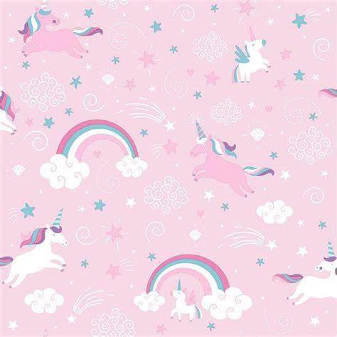 Pink Unicorn Wallpaper Girls Kids Girly Rainbow Fairytale