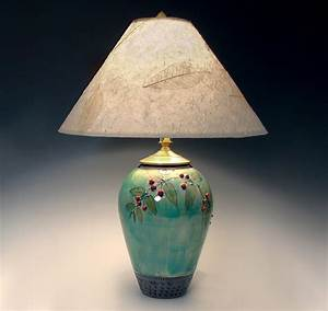 Small, Celadon, Lamp, With, Red, Berries, By, Suzanne, Crane, Ceramic, Table, Lamp