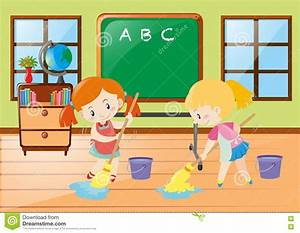 Two Girls Cleaning Classroom Together Stock Vector ...