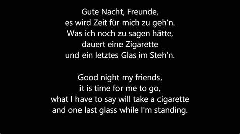 reinhard mey gute nacht freunde lyrics translation