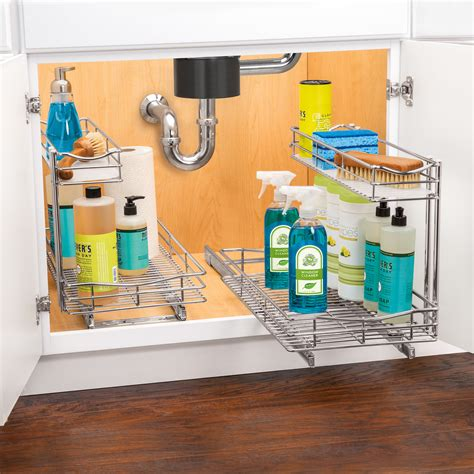 under sink sliding organizer lynk roll out under sink cabinet organizer pull out two