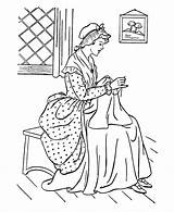 Coloring American Early Colonial Pages America Sewing Clothes Printables Clipart Colouring Making Usa Culture History Homes Adult Houses Famous Embroidery sketch template