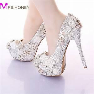 2016 gorgeous wedding shoes round toe rhinestone bridal With wedding dress heels