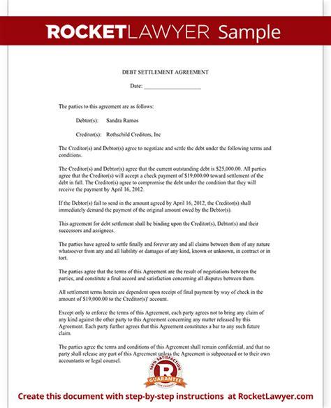 debt settlement agreement form letter  sample