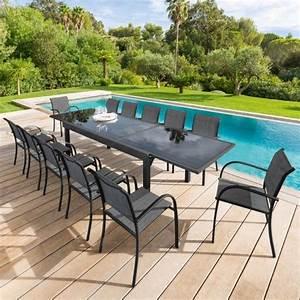 Salon De Jardin 12 Personnes : salon de jardin piazza anthracite graphite verre 6 10 ~ Dailycaller-alerts.com Idées de Décoration
