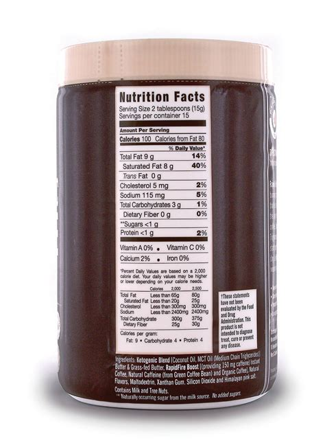 Canister (15 servings) 4.0 out of 5 stars 660. Rapid Fire Ketogenic Coffee Nutrition Facts - NutritionWalls