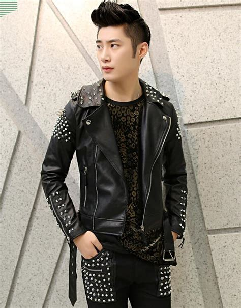 Online Get Cheap Studded Leather Jacket Men Aliexpress