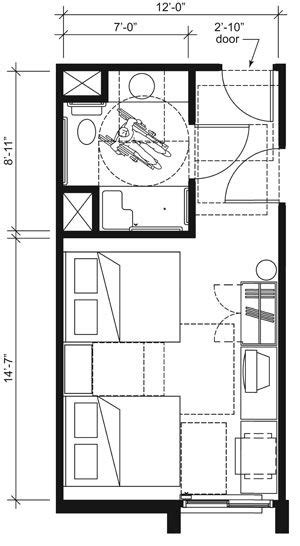 This drawing shows an accessible 12-foot wide guest room