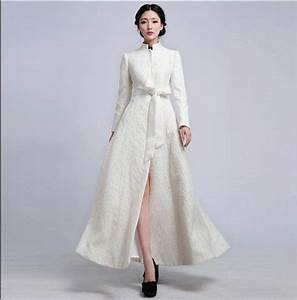 white embroidered organza jacket wedding dress by With dress and coat for winter wedding