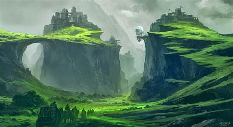 wallpaper landscape fantasy art green mist valley
