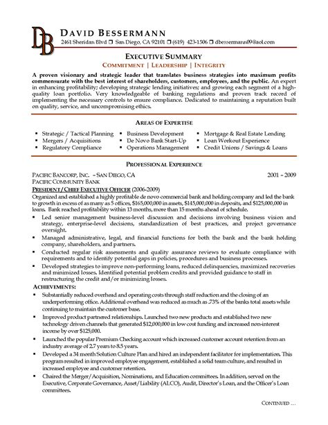 executive summary exle resume berathen