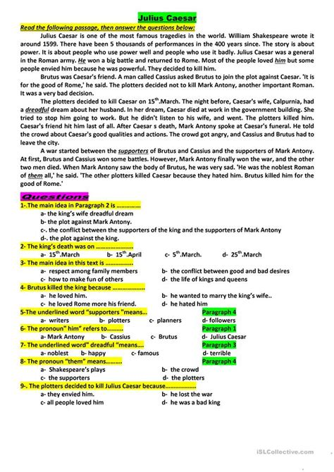 julius caesar worksheet free esl printable worksheets