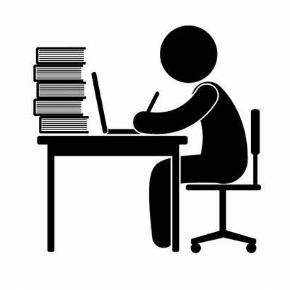Clipart Receptionist Teacher Busy Desk Transparent Study