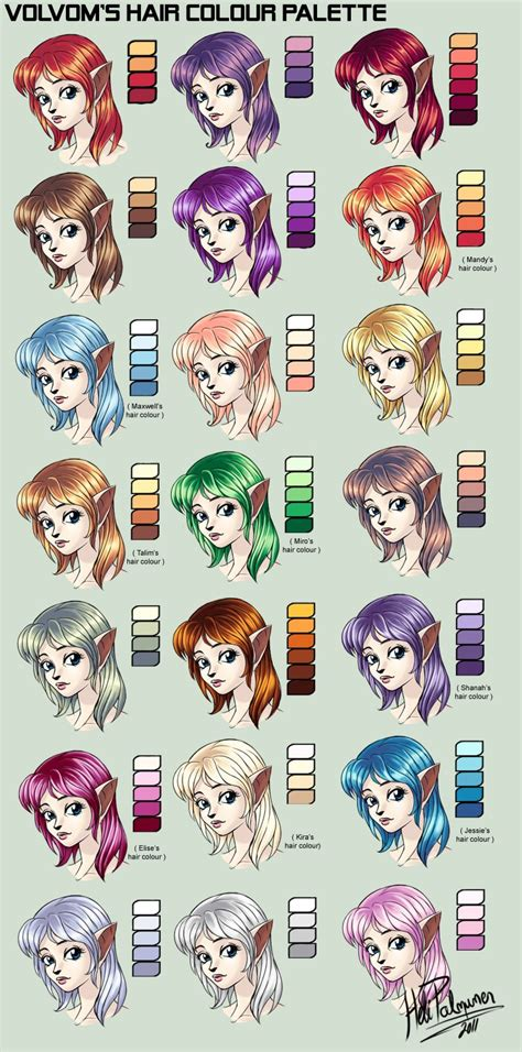 Coloring Hair Anime by My Hair Colour Palette By Volvom Deviantart On