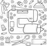 Kleurplaat Boek Naaien Gereedschappen Werktuigen Sewing Coloring Tools Apparatuur Naaigerei Equipment Garen Griekenland Borduurwerk Illustratie sketch template