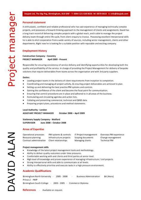 project manager cv template construction project