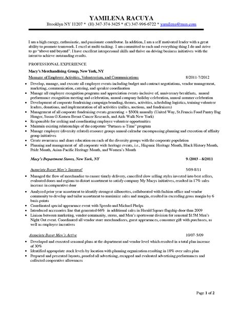 procurement resume format associate executive director