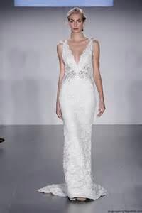 column wedding dress lazaro fall 2015 beaded column wedding dress with a v neckline recent bridal 2015 2016