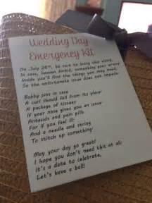 how to make wedding programs wedding day emergency kit poem gift ideas
