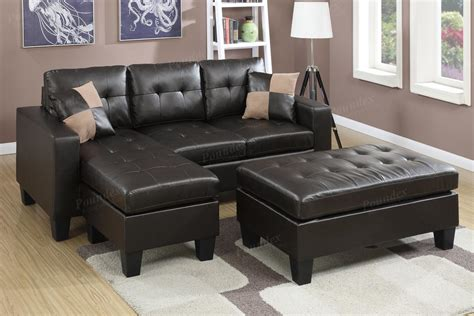 brown sectional with ottoman poundex cantor f6927 brown leather sectional sofa and