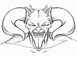 Scary Coloring Pages Devil Face Getdrawings sketch template