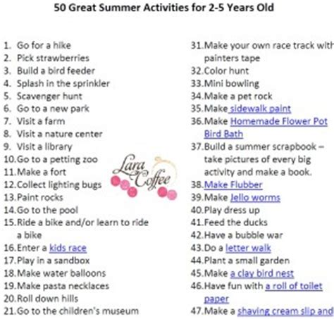50 great summer activities for 2 5 years old coffeetime coffeetime