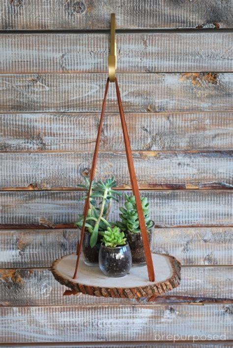 diy hanging wood slice plant stand shelterness