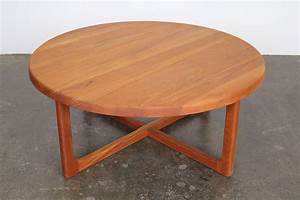 mid century large round solid teak coffee table at 1stdibs With unfinished round coffee table