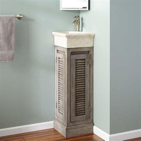 "12"" Breck Corner Teak Vanity   Gray Wash   Bathroom"