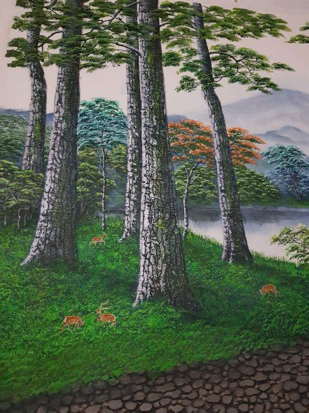 lukisan pemandangan pohon cemara arti gambar